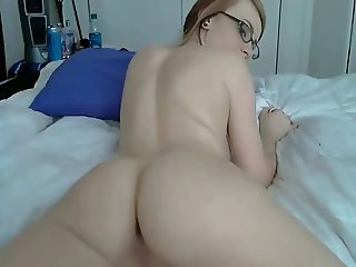 Slut with glasses on cam