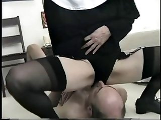 Noughty face sitting nun