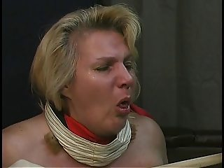 Old man tortures chubby blonde's big tits