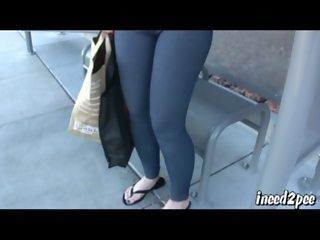 Caroline Pierce pornstar wets her spandex in public