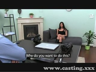 Casting First time facial for cute young brunette