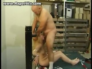 Girl tied and forced to suck cock of fat guy