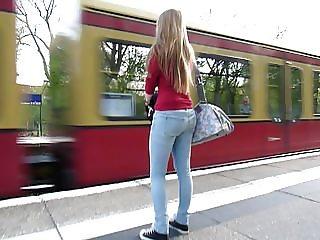Following jucy bum in Blue Jeans & Blonde Hair