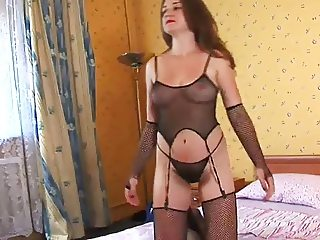 Unshaven wife in fishnet