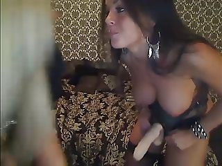 Staci and her friend use strap on