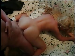 Perky blonde with long hair gets pounded by an older gent