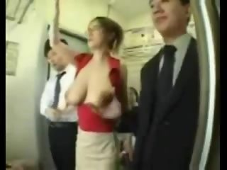 asia chick with big tits gets groped in train