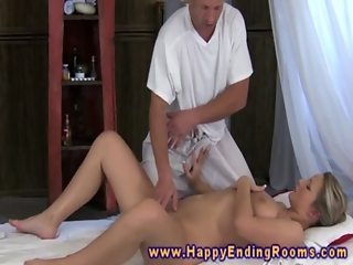 Masseuse gives finger and feet for his model client