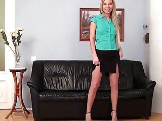 Very Cute blonde teasing in pantyhose