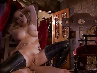 Blonde in crotch high boots femdom