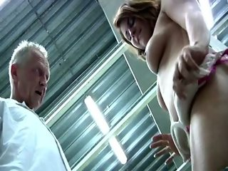 Young booty redhead gets naked in front of horny old boss