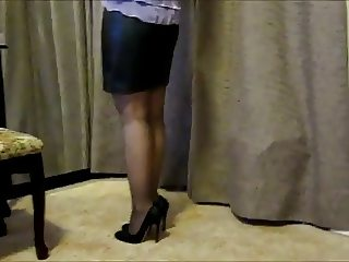 Asian Mature with Leather Mini