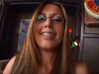 sexy girl in glasses fucks for cum