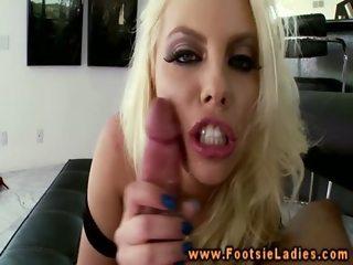 Feet wanking big boobed babe sucks cock