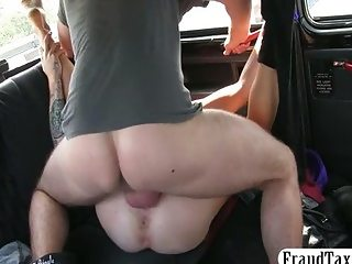 Kinky amateur squirts all over the backseat