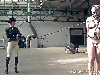 Riding Mistress severely beats her slave