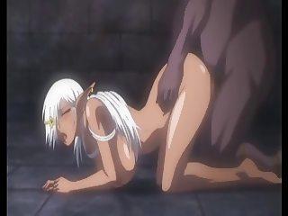 Busty Dark Elf banged from behind - Hentai