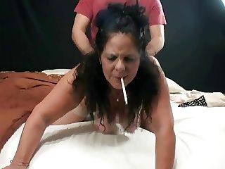 Hot Smoking Granny Doggied (short clip)
