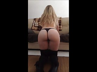 Hot Blonde milf amateur Wife in boots fucking riding cock