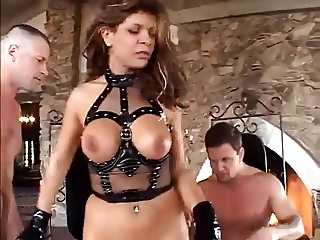 Girl with leather boots fucks two men
