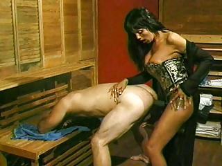 Angela fucks him in the sauna