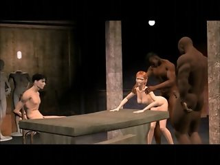3D animated interracial fucking and cuckold