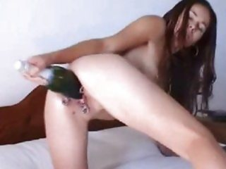 Huge Toy & Bottle Champagne Masturbation
