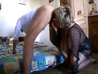 Grandma sucks ass to young man