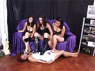 Brazilian slave worships feet of three girls and eats spit