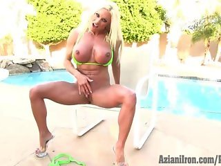 Aziani Iron Ashlee Chambers fitness model in tiny bikini then gets naked