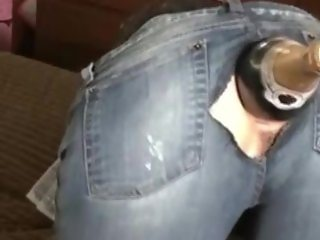 Champagne bottle in ass