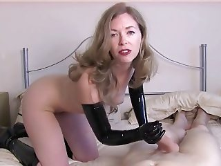 Dirty Talking Latex Milf Teases Slave Cock