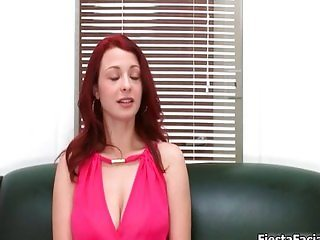 Sexy redhead babe gets horny stripping