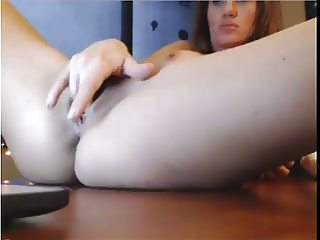 Sexy boss squirting on her desk