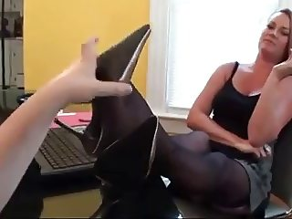 lesbian lick boss feet for job