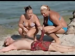 Naked and Funny Big Penis on Beach