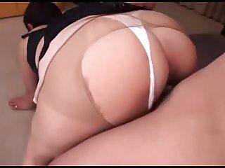 Japanese MILF pantyhose fuck