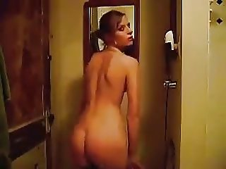 Undressing in front of webcam