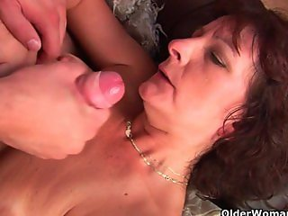 Grandma with hairy pussy sucks and fucks