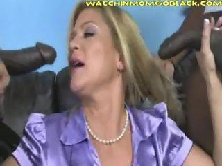 Hot Blonde Sucks Black Dick Son Sees