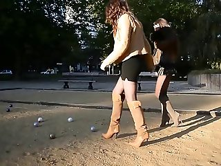 sexy girls in Shortest miniskirt playing petanque