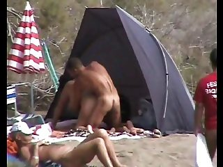 Couple on nudist beach