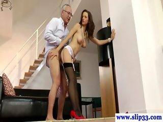 Young european brunette rides dick