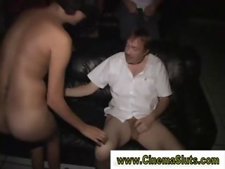 Cock crazed whore gets group fucked