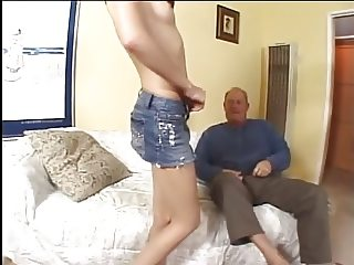 Gorgeous brunette milf loves to suck older man's cock before riding it on couch