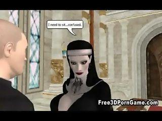 Sexy 3D cartoon nun sucks cock and gets fucked hard