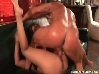 Sexy brunette sluts get horny getting