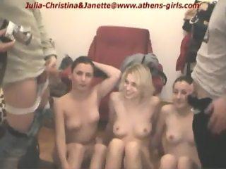 2 ugly men peeing on 3 pretty croatian girls