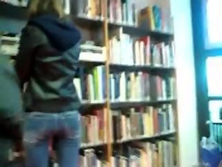 Cute teen ass hidden cam in library