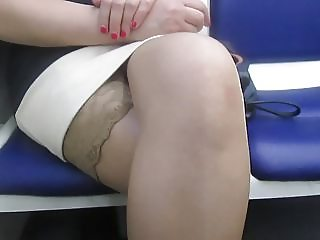 Flashing stockings tops in a train